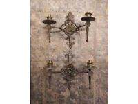 Pair of Matching Vintage Cast Iron Wall Lights