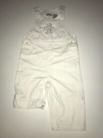 Redoute white dungarees size 29 (12 months)