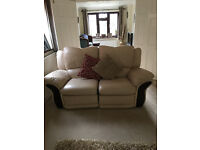 Cream Leather 3 and 2 seater sofas - very good condition