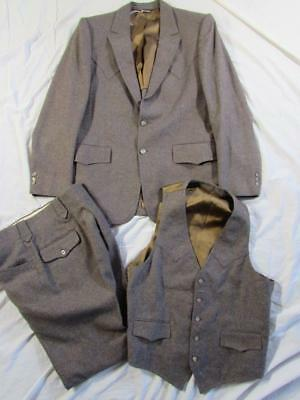 Vtg 60s 70s 3 Pc Ropers Wool Western Suit Rockabilly Jacket Vest & Pants Nice!
