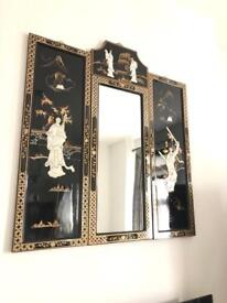 Oriental Chinese lacquered Mirror