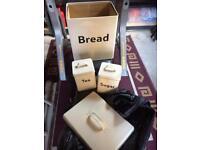 Bread bin, tea, sugar, coffee tins