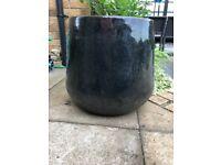 Large circular shaped mirror glazed (charcoal grey colour) ceramic planter pot
