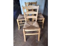 Habitat Solid Wood Chairs (4) with wicker seat. Quality chairs, could paint?