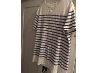 White t-shirt blue stripes - small/medium