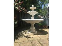 Garden Fountain - Antique Stone Effect - 2m high x 1.5 m wide - Pre-owned