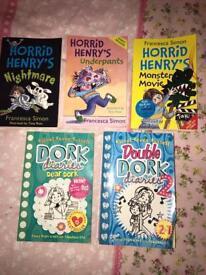 Dork diaries and Horrid Henry books