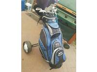 GOLF CLUBS WITH BAG TROLLEY AND ACCESSORIES