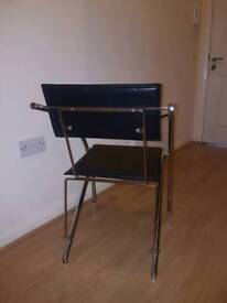 Black leather shinning steel chair