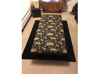 Navy and gold elephant pattern footstool