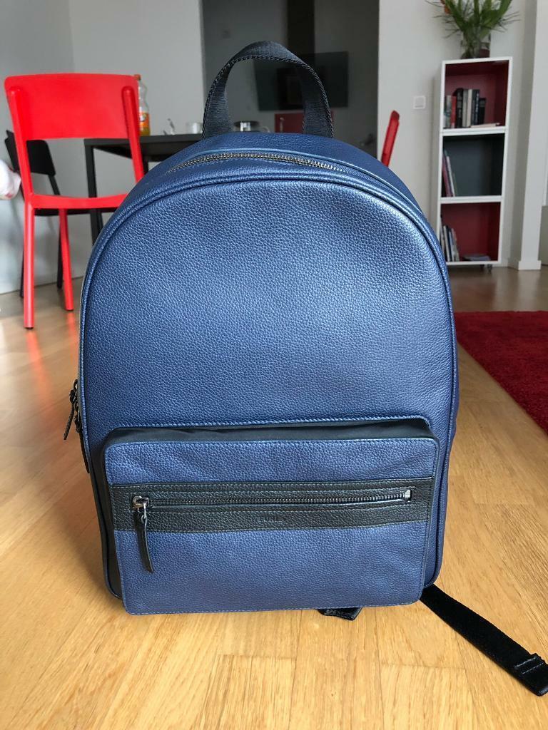 59fce0ea405b16 FURLA men s leather backpack in navy blue