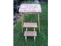 VINTAGE INDUSTRIAL WOODEN AND METAL FOLD OUT STEPS FOR SALE.