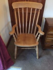 SOLID PINE WINDSOR HIGH BACK ARMCHAIR, EXCELLENT CONDITION, DELIVERY AVAILABLE