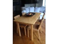 Ikea Wood table and 4 Chairs (Can Deliver)
