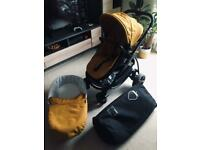 icandy strawberry 2 pushchair black chassis, amber colour pack and footmuff and big travel bag 2in1