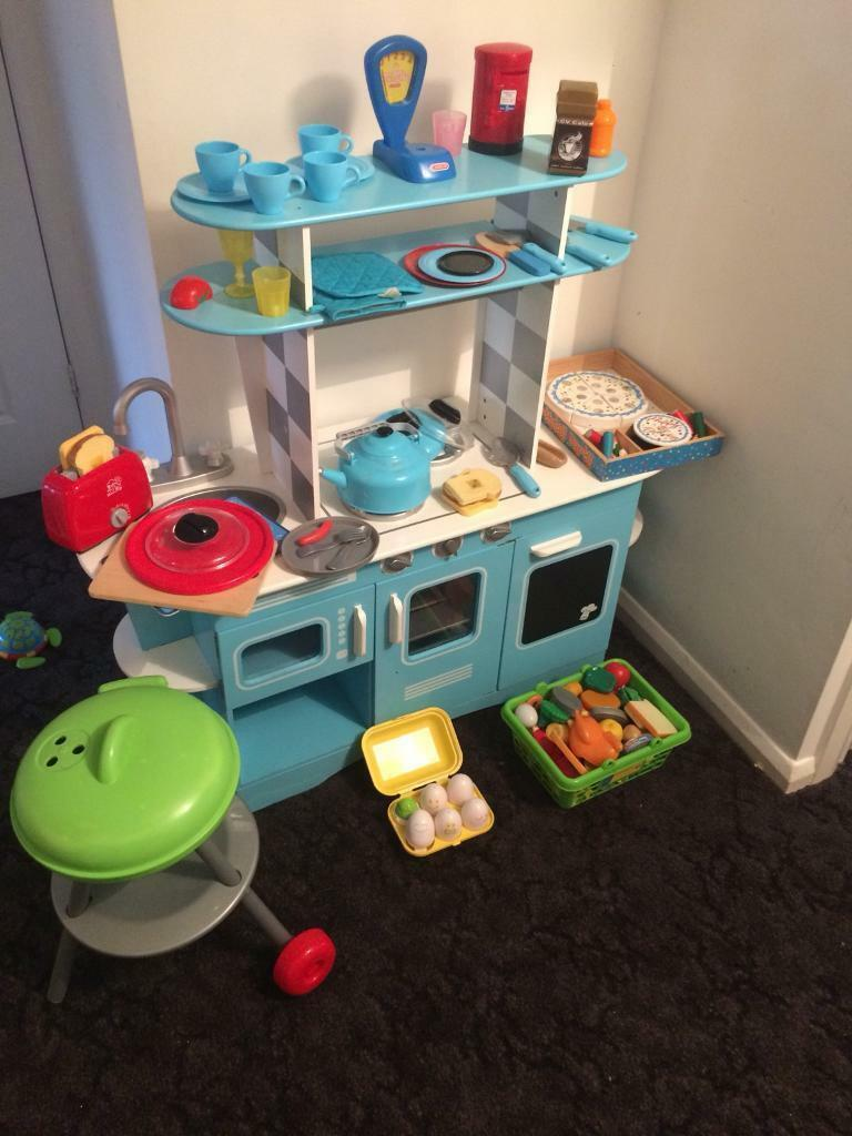 Elc blue wooden kitchen and accessories