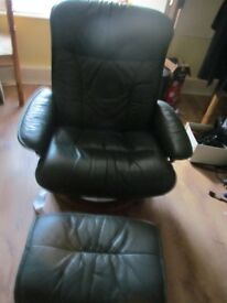 Stressless Leather Recliner and Stool Ekornes Norway