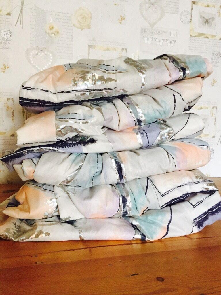 Set of 6 matching long drop curtains