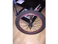 BMX nitrous red alloy wheel ,gearing 9 teeth, tyre