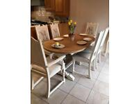 Shabby chic oak table and 6 chairs
