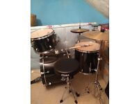 Drum Kit. TAMA Rhythm Mate. 5 drums plus cymbals and stool. Hardly used. Excellent condition.