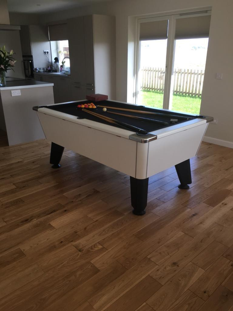 Dpt Omega Slate Bed Pool Table White With New Black Cloth Or - Nearest pool table