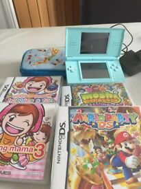 NINTENDO DS LITE, CASE & 4 GAMES