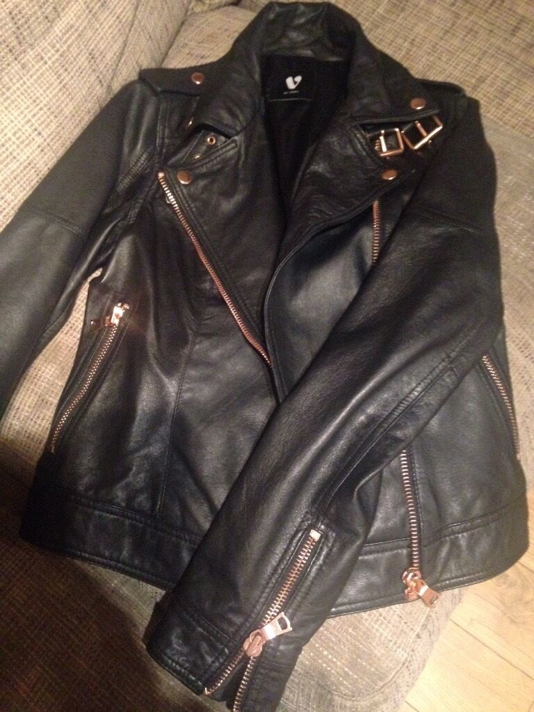 Womens size 10 brand new black leather jacket with rose gold zipsin Cullybackey, County AntrimGumtree - Black leather jacket with rose gold zips, worth £140 selling for £50 Worn once!