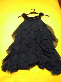 Costco girls blue ruffle party dress size 10 years excellent condition