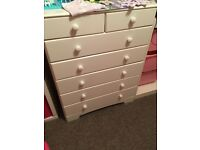 2 x 5+2 white chest of drawers