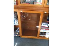 Display cabinets, 6 in total. 3 double top cabinets with lights and 3 double base cabinets.