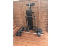 Folding bench press plus 60kg Barbell Dumbbell Set