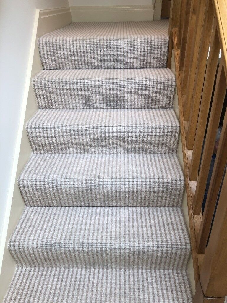 All Wool Cream Striped Stair Carpet In Good Condition In