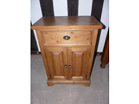 Bedside table, pine, with drawer and cupboard
