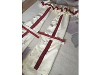 Pair of Paul simons curtains with tie back and pelmet 157x179