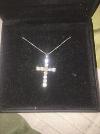 Beaverbrooks diamond look cross necklace