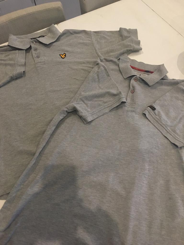 2 x grey polo shirts. Lyle and Scott vintage and Barbour. Size L