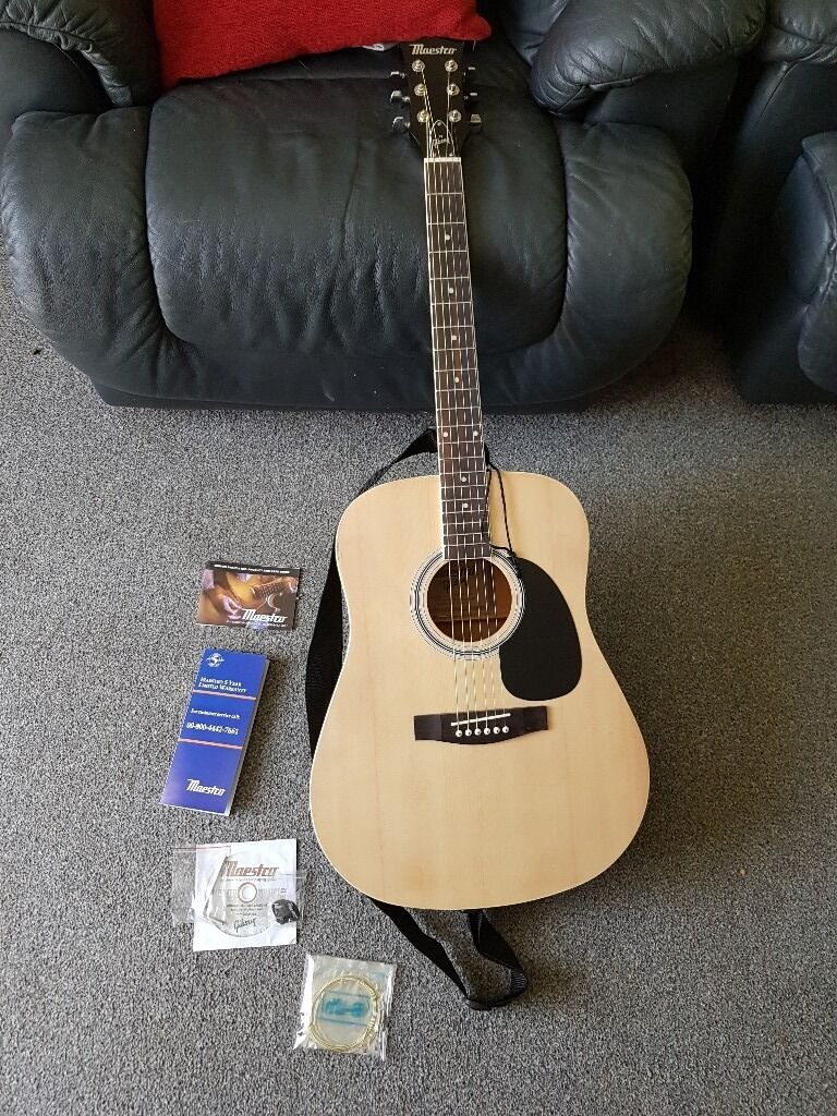 Gibson Maestro Guitarin Bath, SomersetGumtree - Brand new condition out of the box Gibson Maestro guitar with 5 year warranty card and 6 spare strings also begginers guide DVD for learning to play it has 2 plucks and an Alan key tool plus a product care guide booklet. Also comes with a strap. This...