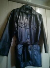 Ladies Black Italian leather coat