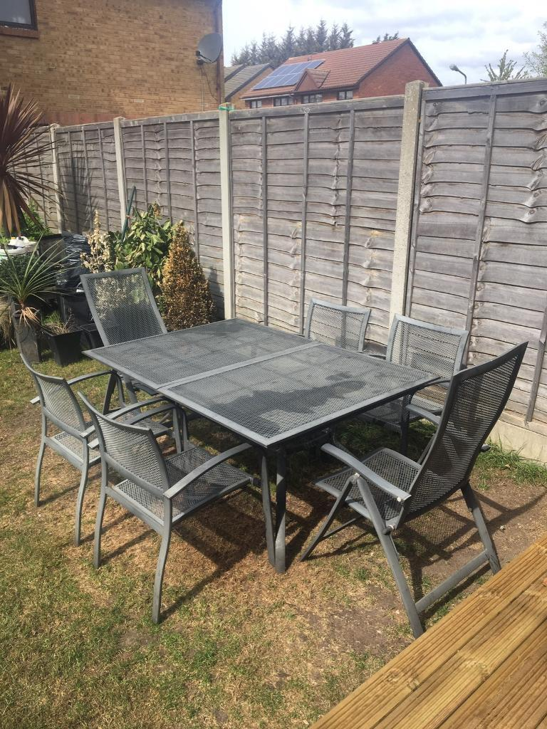Garden Furniture Gumtree grey mesh extendable garden table and chairs set | in romford