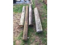 4 Telegraph pole lengths , each about 1.5M