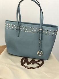 Brand New Michael Kors Jet Set Jewel Leather Tote Bag with labels - Powder Blue