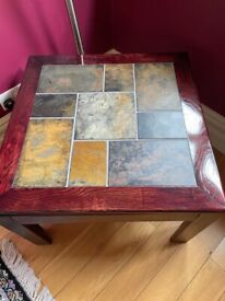 Square Wood and Tile Coffee Table - Great Condition