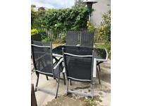 Garden table & 5 reclining chairs