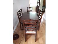 6 Seat Dark Solid Wood Dinning Table with 6 chairs