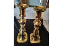 """pair of victorian brass candlesticks England RB223580 10"""" used but vgc no dents"""