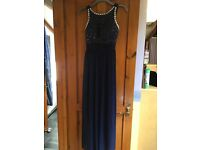 Long evening dress, size 12, dark blue with silver detail on top