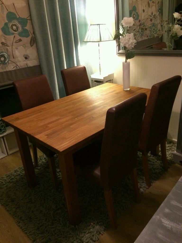 Very Heavy Oak Dining Table And Leather Chairs