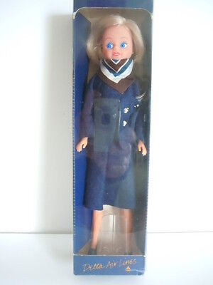 Flight Attendant Mini - Vintage 1980's Delta Airlines Mini Flight Attendant Doll With Box Excellent!!