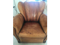 1940s Art Deco Leather Club Chair